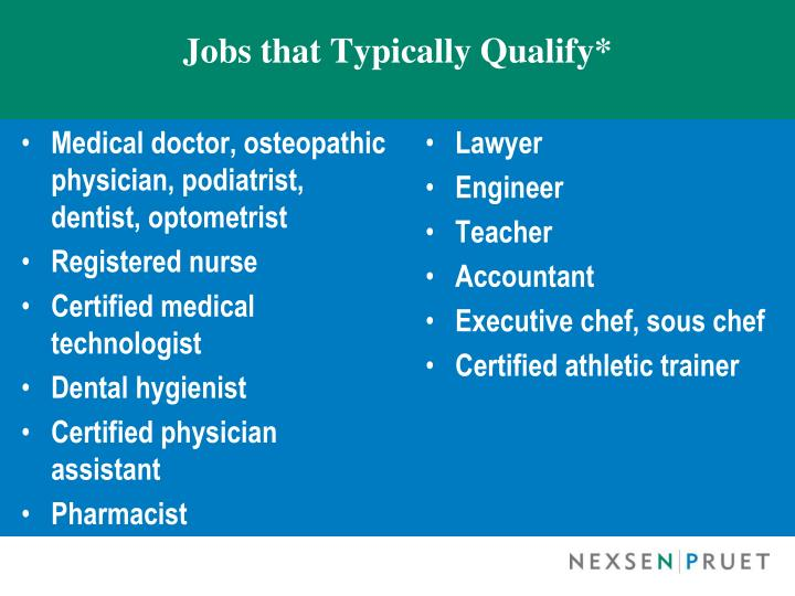 Jobs that Typically Qualify*