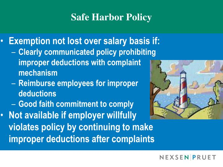 Safe Harbor Policy