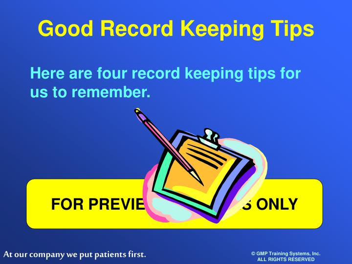 Good Record Keeping Tips