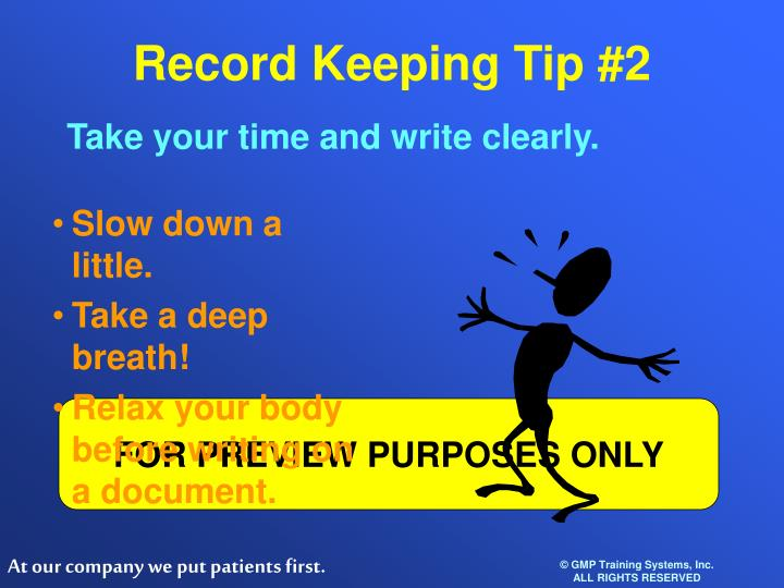 Record Keeping Tip #2