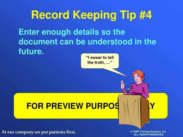 Record Keeping Tip #4