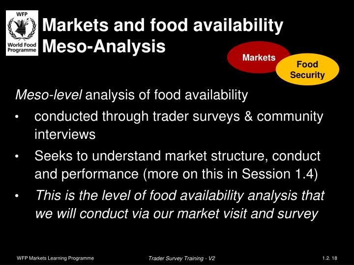 Markets and food availability