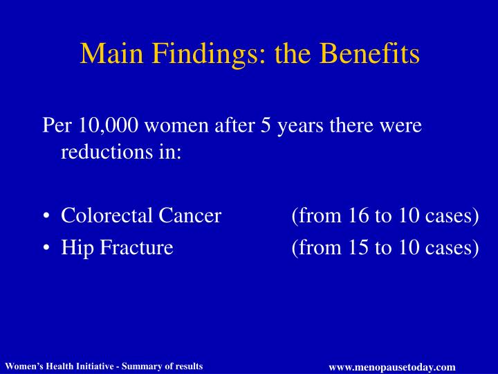 Main Findings: the Benefits