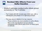 residual nox effects from low sulfur gasoline