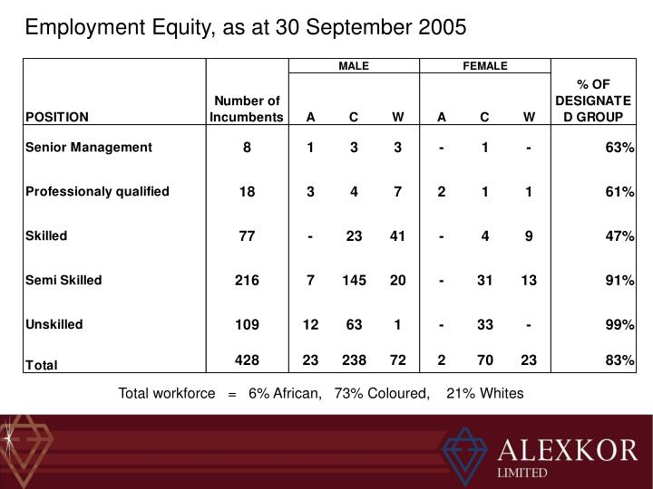 Employment Equity, as at 30 September 2005