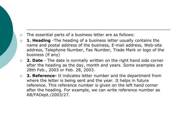 essential parts of a business letter