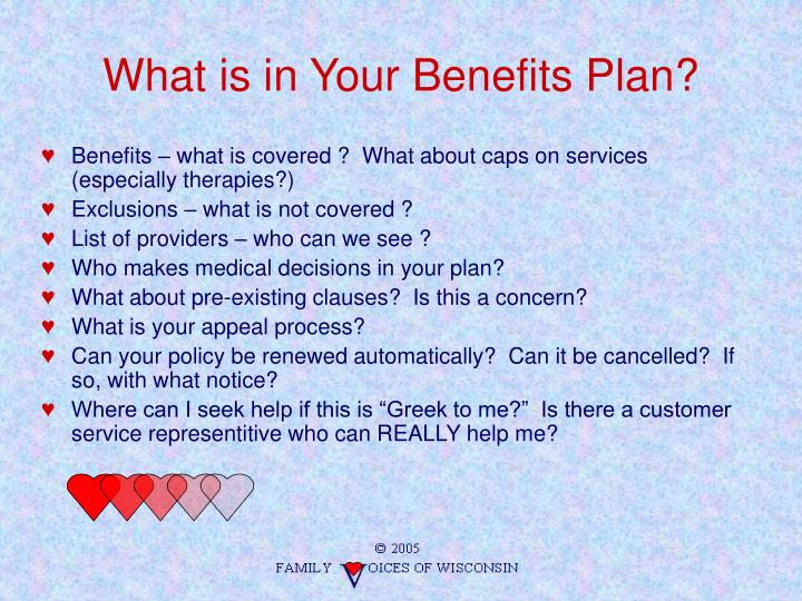 What is in Your Benefits Plan?