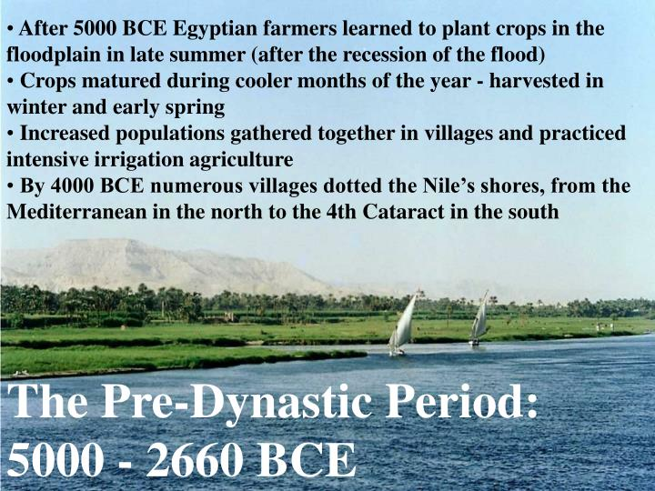 After 5000 BCE Egyptian farmers learned to plant crops in the floodplain in late summer (after the recession of the flood)