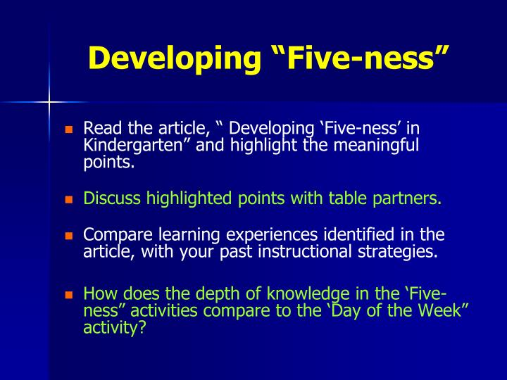 """Developing """"Five-ness"""""""