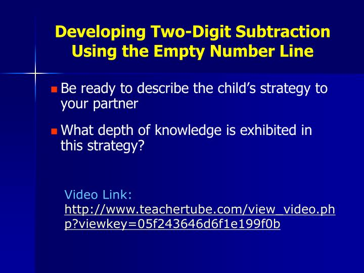 Developing Two-Digit Subtraction Using the Empty Number Line