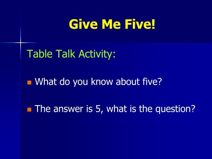 Table Talk Activity:
