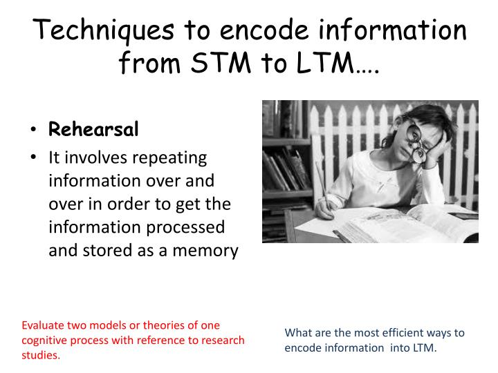 Techniques to encode information from STM to LTM….