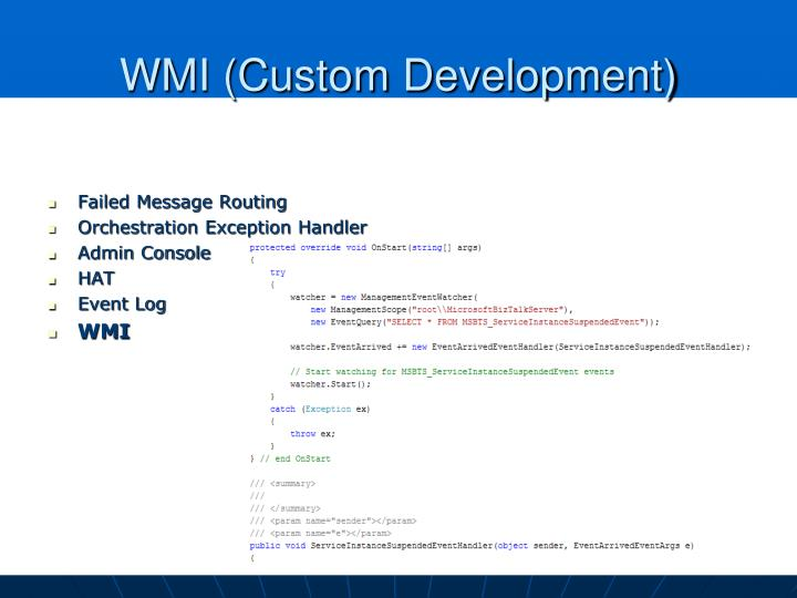 WMI (Custom Development)