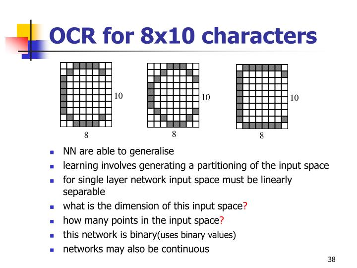 OCR for 8x10 characters