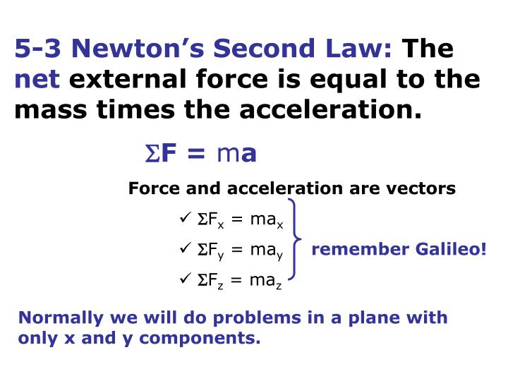 5-3 Newton's Second Law:
