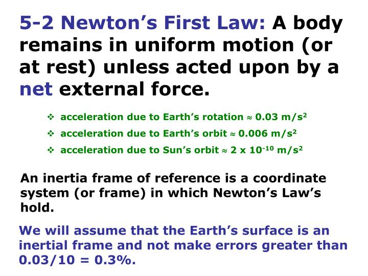 5-2 Newton's First Law: