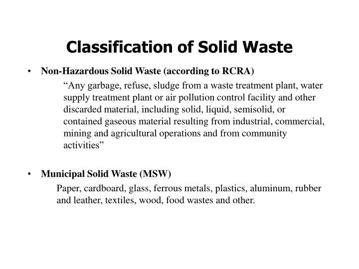 classification of municipal solid waste