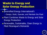 waste to energy and solar energy production