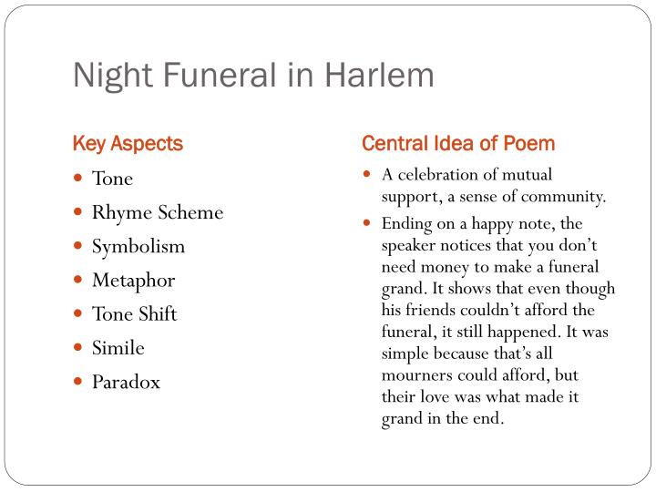 night funeral in harlem Night funeral in harlem by langston hughes - night funeral in harlem: where did they get them two fine cars insurance man, he did not pay-.