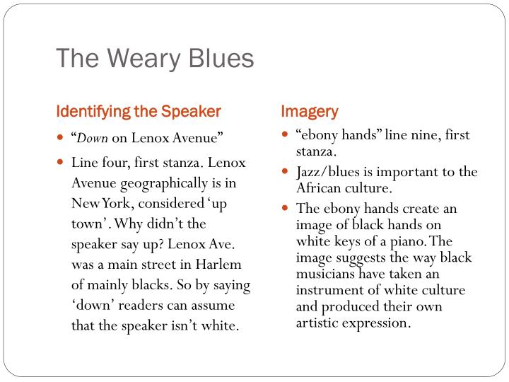 the weary blues and lenox avenue midnight by langston hughes Also entitled the weary blues background langston hughes was known as  a note on 'the weary blues ' lenox avenue: a  the stranger/midnight.