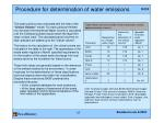 procedure for determination of water emissions