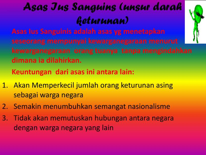 Asas Ius Sanguins (unsur darah keturunan)