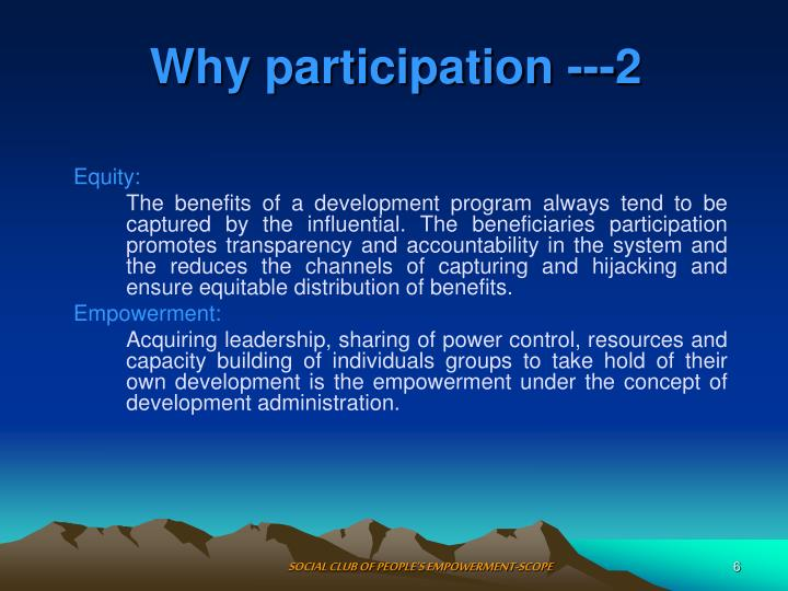 Why participation ---2