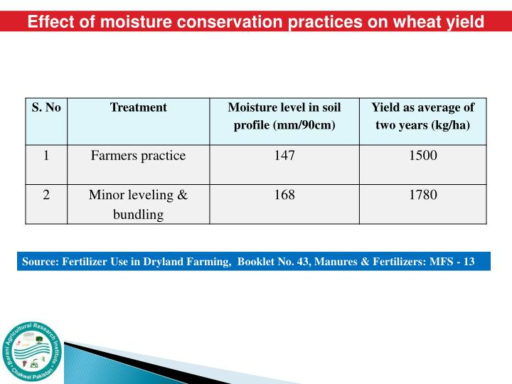 Effect of moisture conservation practices on wheat yield