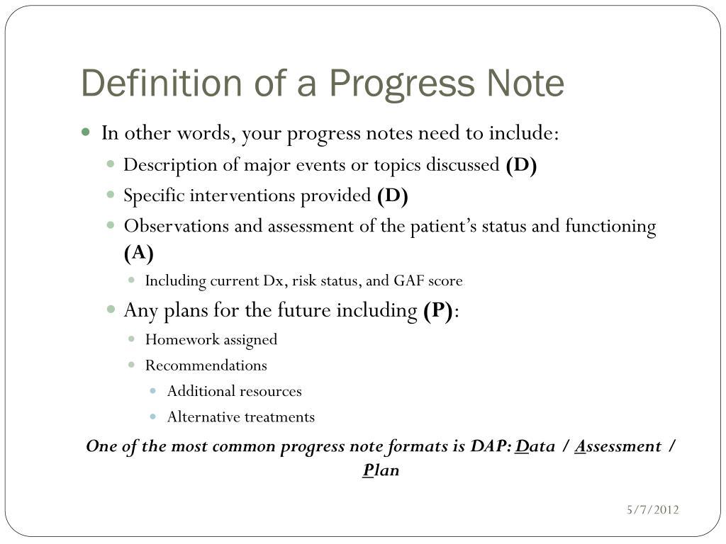 PPT - Writing Progress Notes PowerPoint Presentation - ID
