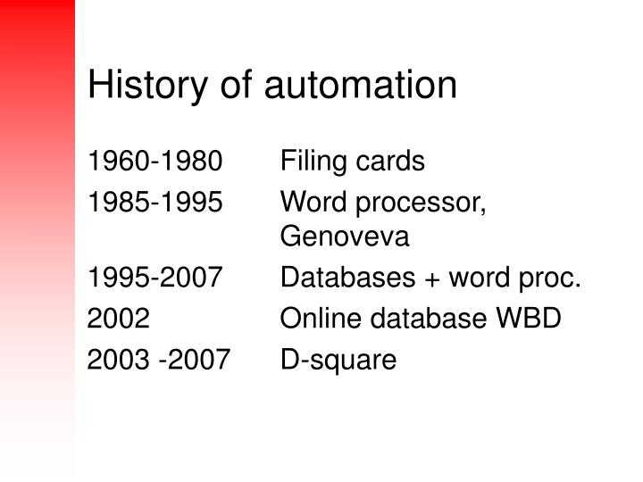 History of automation
