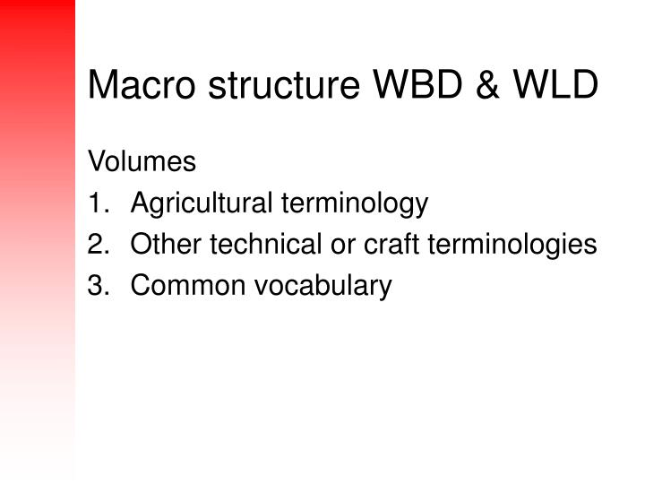 Macro structure wbd wld