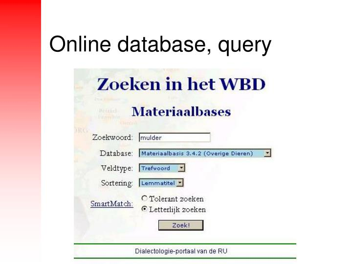 Online database, query