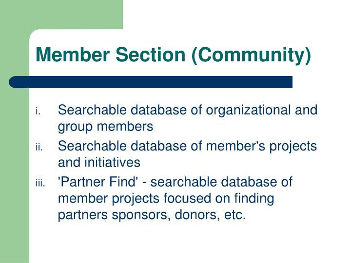 Member Section (Community)