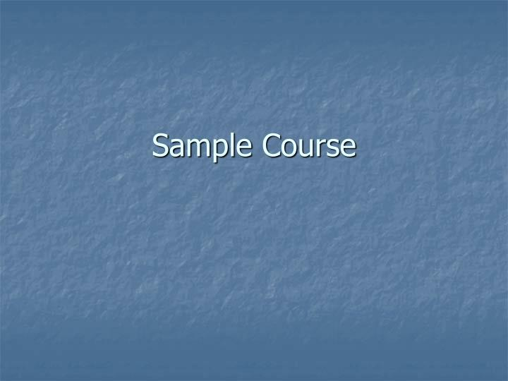 sample course n.