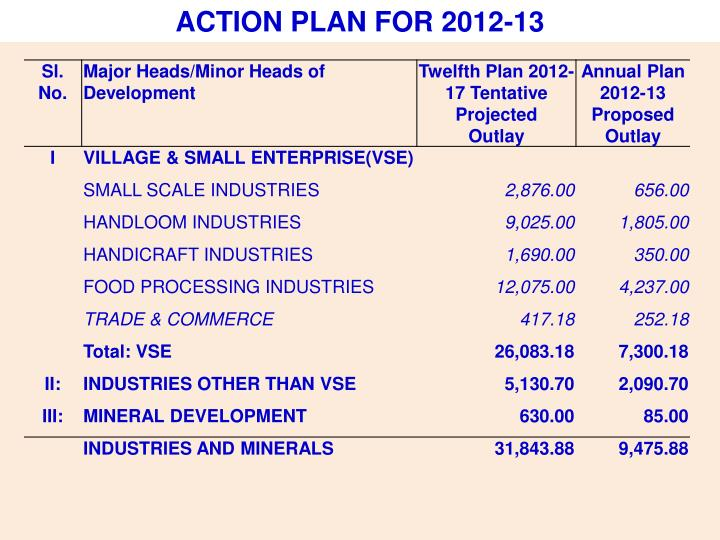 ACTION PLAN FOR 2012-13