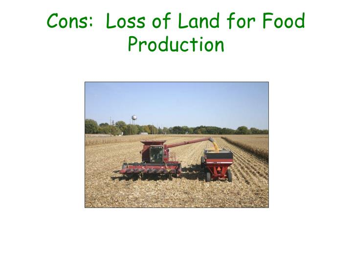 Cons:  Loss of Land for Food Production