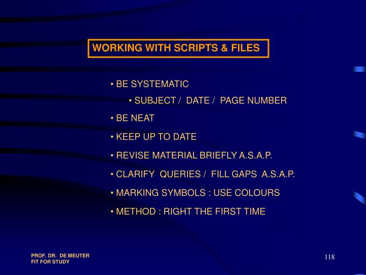 WORKING WITH SCRIPTS & FILES