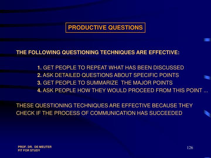 PRODUCTIVE QUESTIONS