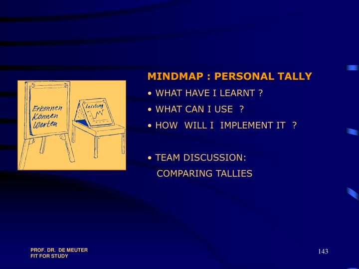 MINDMAP : PERSONAL TALLY