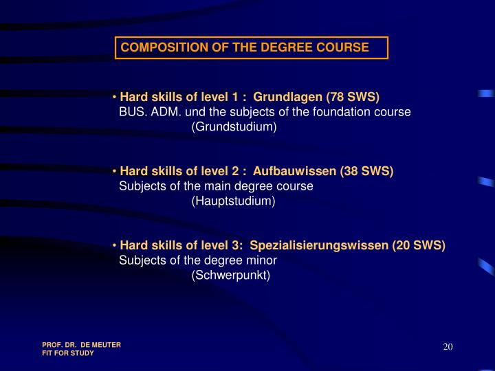 COMPOSITION OF THE DEGREE COURSE
