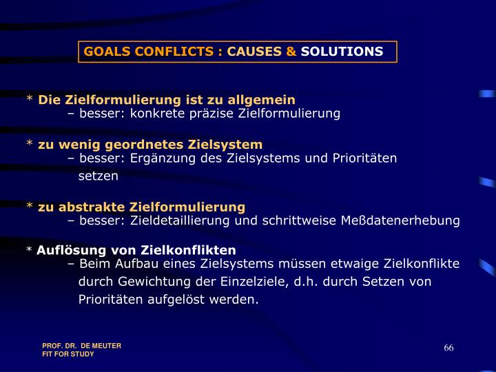 GOALS CONFLICTS :