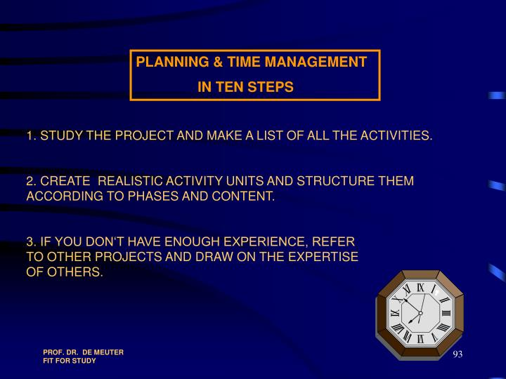 1. STUDY THE PROJECT AND MAKE A LIST OF ALL THE ACTIVITIES.