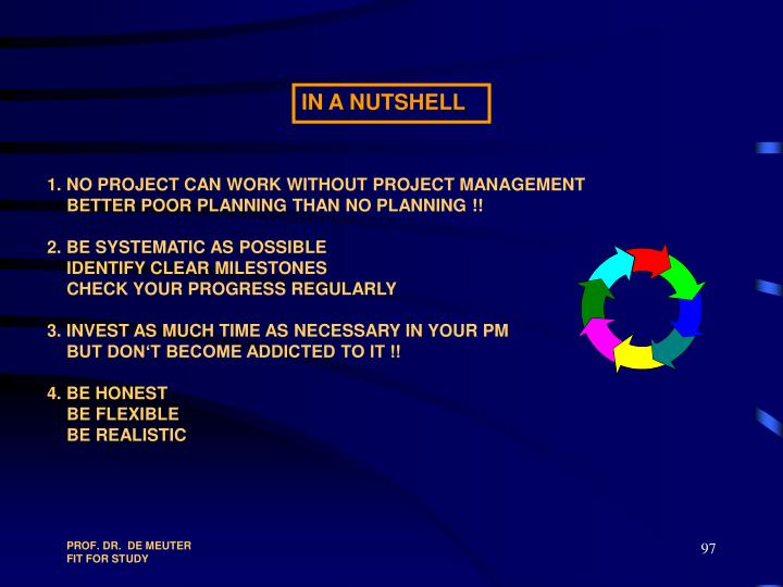 1. NO PROJECT CAN WORK WITHOUT PROJECT MANAGEMENT