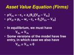 asset value equation firms