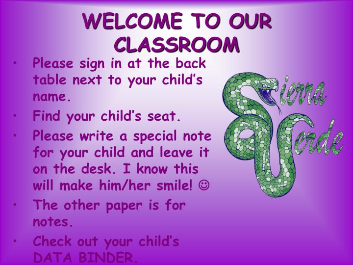 welcome to our classroom n.