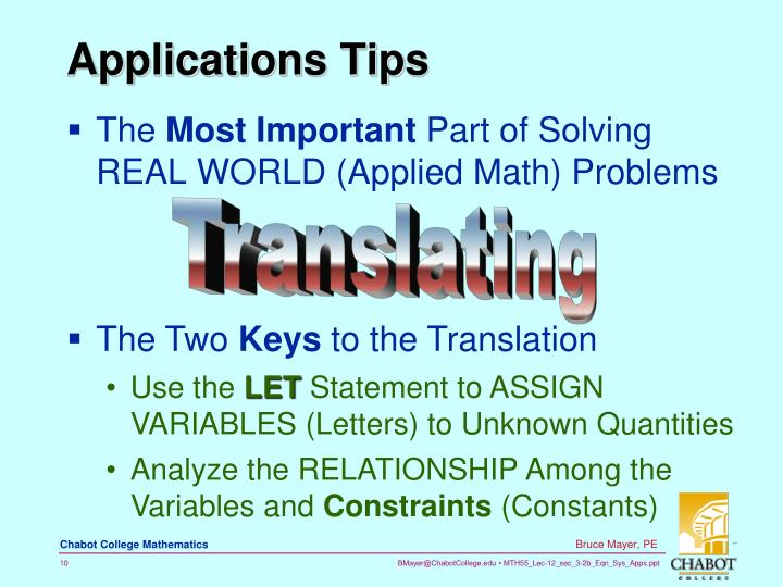 Applications Tips