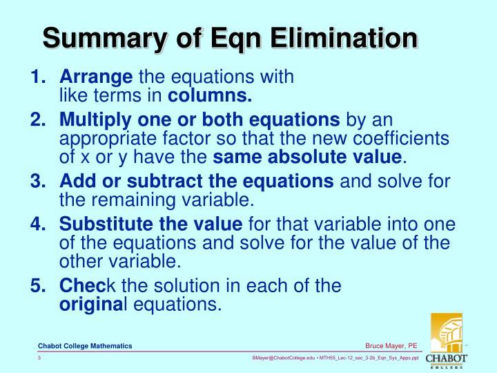 Summary of eqn elimination