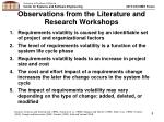 observations from the literature and research workshops