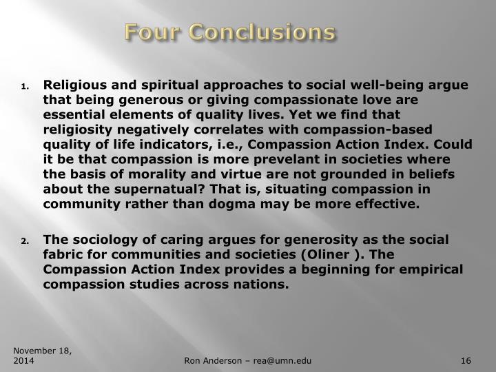 Four Conclusions