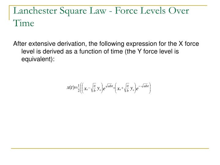 Lanchester Square Law - Force Levels Over Time